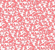 Pretty Coral Damask by AntiqueImages
