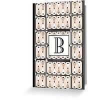 1920s Pink Champagne Gatsby Monogram letter B Greeting Card