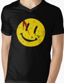 Watchmen Symbol Smile Vintage Mens V-Neck T-Shirt