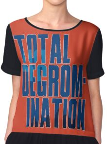 Total deGromination In Blue Chiffon Top