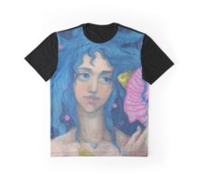 Little Mermaid, Underwater Fantasy Art, Pink & Blue Graphic T-Shirt