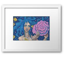 Little Mermaid, Underwater Fantasy Art, Pink & Blue Framed Print