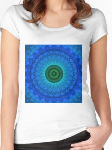 Blue mandala with green middle. Women's Fitted Scoop T-Shirt