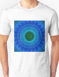 Blue mandala with green middle. Unisex T-Shirt