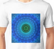 Blue mandala with green middle. Unisex T-Shirt