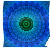 Blue mandala with green middle. Poster