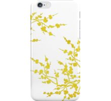 Cherry blossoms - gold on white iPhone Case/Skin