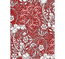 Art Nouveau Seaweed Floral, Coral, Red and White Photographic Print