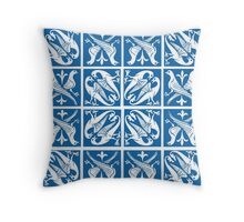 Delft Blue and White Lovebirds Pattern Throw Pillow