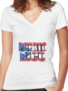 Puerto Rico flag 3d Women's Fitted V-Neck T-Shirt