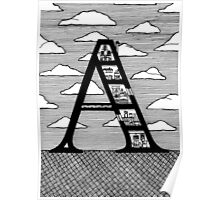 Letter A Architecture Section Alphabet  Poster