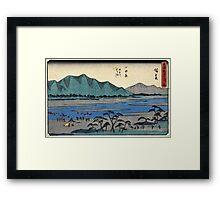 Odawara - Hiroshige Ando - 1838 - woodcut Framed Print