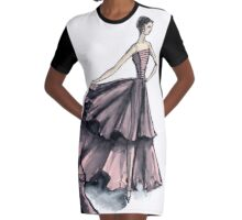 Audrey in Pink Fashion Dress Beautiful Feminine Disco Gown  Graphic T-Shirt Dress