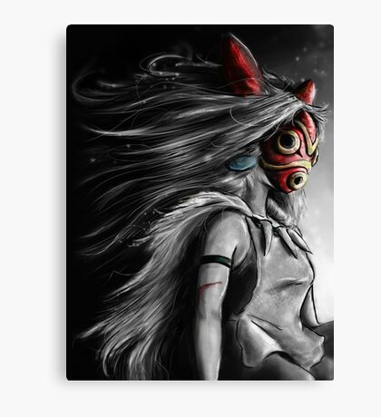 Mononoke Wolf Anime Tra Digital Painting Canvas Print