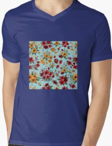 Seamless Pattern with Red and Yellow Flowers in Vintage Style Mens V-Neck T-Shirt