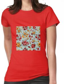 Seamless Pattern with Red and Yellow Flowers in Vintage Style Womens Fitted T-Shirt