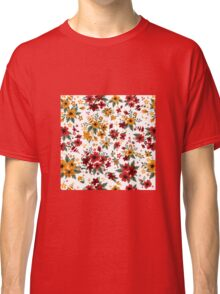 Seamless Pattern with Red and Yellow Flowers in Vintage Style Classic T-Shirt