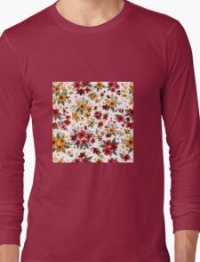 Seamless Pattern with Red and Yellow Flowers in Vintage Style Long Sleeve T-Shirt