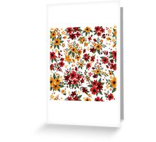 Seamless Pattern with Red and Yellow Flowers in Vintage Style Greeting Card