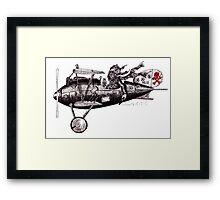 Funny crazy pilot on vintage plane. Black and white pen ink drawing Framed Print