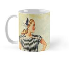 Retro,1950's,vintage,lady,seashore,worn,grunge,rustic,reproduction Mug