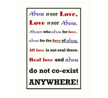 Abuse is not Love Art Print