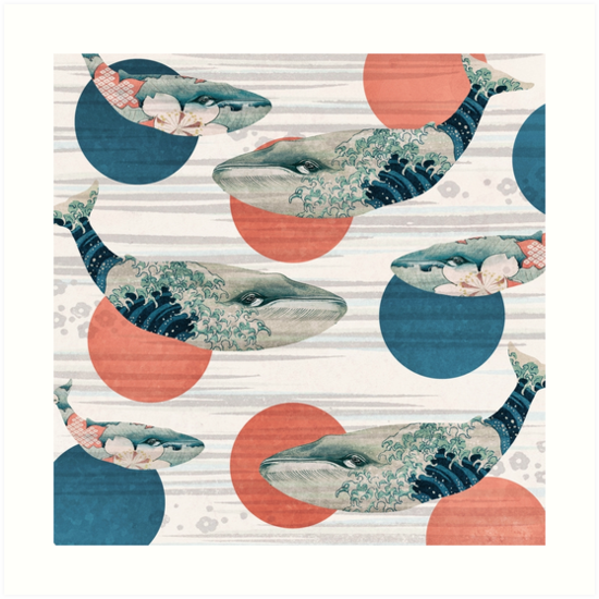 Whale and Polka Dots by Paula Belle Flores