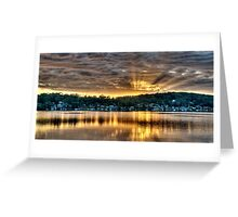 Golden Crepuscular Sunrise over Water. Greeting Card