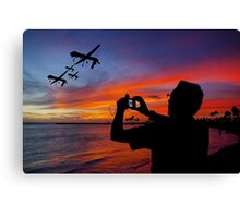 Drone Family In Their Hawaiian Vacation. Canvas Print