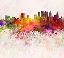 Atlanta skyline in watercolor background by paulrommer