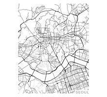 Seoul Map, South Korea - Black and White Photographic Print