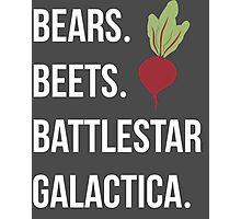 Bears Beets Battlestar Galactica - The Office Photographic Print