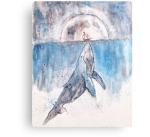big whale or tiny boat  Canvas Print