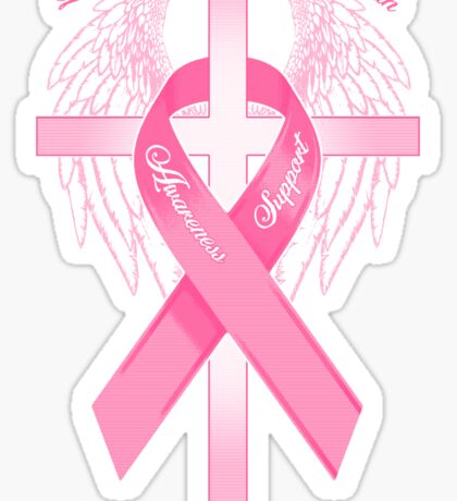 Pink Awareness Ribbon on the Cross Sticker