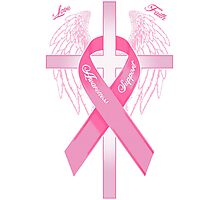 Pink Awareness Ribbon on the Cross Photographic Print