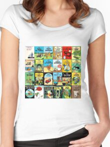 Tintin Book Covers Women's Fitted Scoop T-Shirt