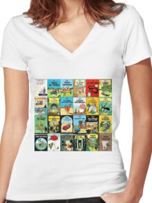 Tintin Book Covers Women's Fitted V-Neck T-Shirt