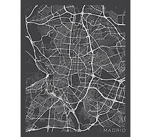 Madrid Map, Spain - Gray Photographic Print