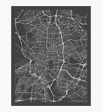 Madrid Map, Spain - Gray Photographic Print