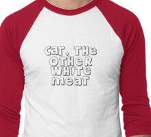 Cat, the other white meat Men's Baseball ¾ T-Shirt