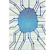 Thumbprint with Circuit Board Binary Code Illustration Photographic Print