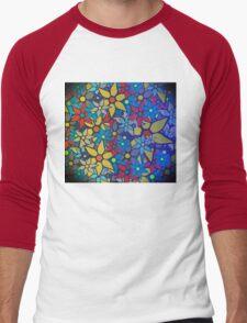 Trendy Floral Pattern Men's Baseball ¾ T-Shirt