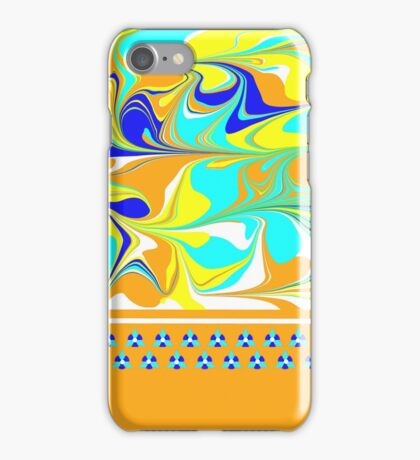 yellow, gold, aqua, blue mod swirl with sweet flower trim iPhone Case/Skin