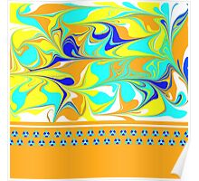 yellow, gold, aqua, blue mod swirl with sweet flower trim Poster