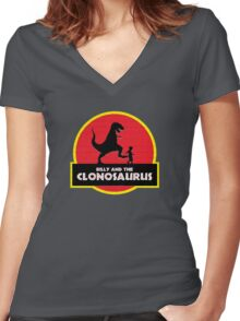 Billy and the Clonosaurus Women's Fitted V-Neck T-Shirt