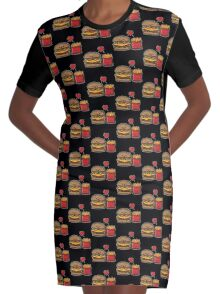 Burger and Fries Graphic T-Shirt Dress