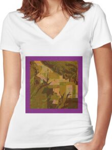 Topographical Art: Maps & Apps Series Women's Fitted V-Neck T-Shirt