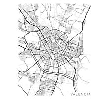 Valencia Map, Spain - Black and White Photographic Print