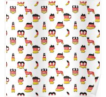 3D German Oktoberfest in Hand-Painted German Flag Colors Poster