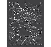 Stockholm Map, Sweden - Gray Photographic Print